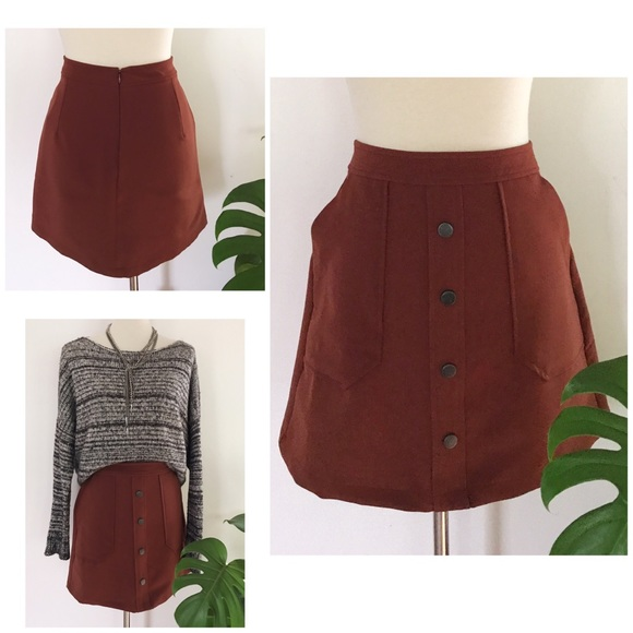 lft Dresses & Skirts - NWT LFT Zara Faux Button Front A-Line Mini Skirt